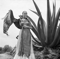 "toni frissell - ""frida kahlo (señora diego rivera) standing next to an agave plant, during a photo shoot for vogue magazine, ""señoras of mexico"", Diego Rivera, Louise Bourgeois, Frida E Diego, Black White Photos, Black And White, Art Photography, Fashion Photography, People Photography, Textile Museum"