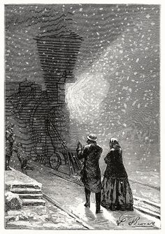 An enormous shadow, preceded by a flickering yellow glare. Illustration by Léon Benett to Around the world in eighty days, by Jules verne, Boston, 1873.