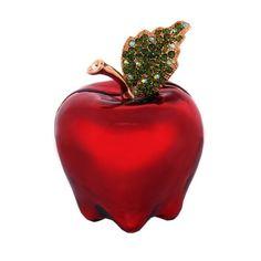 Fancy - Swarovski Crystals! Red Apple Box 24K Gold Jewelry, Trinket or Pink Lady Pill BOX FIGURINE