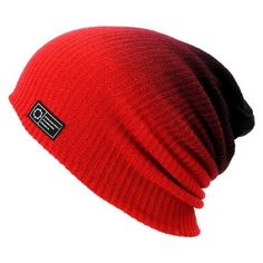 322f4ec57a9 Empyre Black Red Horizon Dip Beanie ❤ liked on Polyvore featuring  accessories