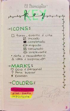 Colections Bullet journal. Colecciones en español. Lettering. Key, icons, markers, marcadores, viñetas.
