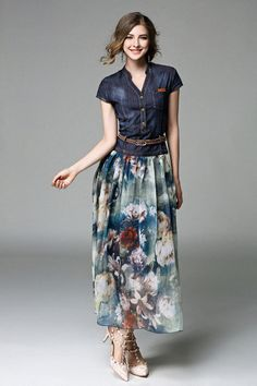 Find More Information about women's 2016 fashion high quality fashion V neck denim patchwork print long short sleeve causal dress womens summer dresses,High Quality dress shaw,China dress high Suppliers, Cheap dresses chinese from V-Seven Scarf Factory on Aliexpress.com