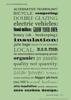 A-Z of Sustainable Living. Try incorporating a few of these into your daily life!