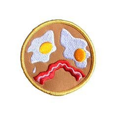Not a morning person? We feel you The only good part is the eggs and bakey Wear this as a merit badge for getting that ass out of bed Embroidered patch 2 5 iron-on backing Cute Patches, Pin And Patches, Iron On Patches, Funny Patches, Bag Pins, Cute Polymer Clay, Merit Badge, Cool Gadgets, Easy Drawings