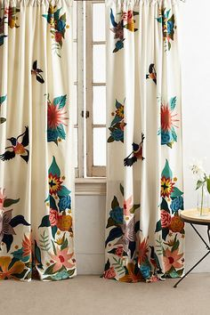 Soaring Starlings Curtain by Rebecca Rebouche in Assorted, Curtains at Anthropologie No Sew Curtains, Home Curtains, Curtains Living, Rod Pocket Curtains, Velvet Curtains, Bird Curtains, Eclectic Curtains, Printed Curtains, Luxury Curtains