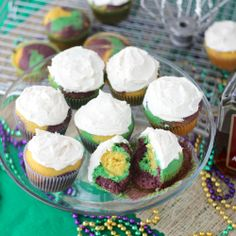 Love the color swirl in these boozy Mardi Gras cupcakes.