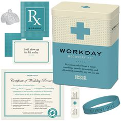 WORKDAY RECOVERY KIT    Our Workday Recovery Kit offers maximum relief from a mind-numbing, morale-destroying, and all-around miserable day on the job. Each tin case includes;  Remedy Booklet  5 Affirmation Cards  5 Healing Bandages  Brain Charm  Declarative Bracelet  Recovery Certificate  Soothes malaise and restores purpose.