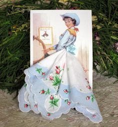 Country Cowgirl  Keepsake Hanky Card by onceuponahanky on Etsy