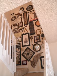Our gaudy but awesome stair wall Stair Walls, Stairs, Color Pallets, Basement Ideas, Picture Wall, Projects To Try, Gallery Wall, Home And Garden, Objects