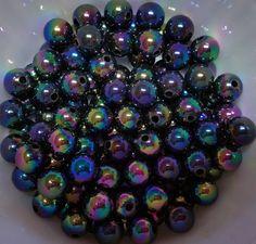 200 8 mm  Black iridescence AB Beads shiny by PegsClayGround