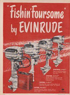 Retro Advertising, Vintage Advertisements, Vintage Ads, Outboard Boat Motors, Boat Restoration, Fishing Signs, Vintage Fishing Lures, Boat Engine, Cool Boats