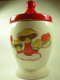Vintage 1970s Ceramic Mushroom Cookie Jar by CapricornOneVintage, $25.00