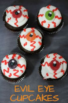 These Evil Eye Cupcakes are so fun for Halloween! Make the cupcakes from scratch or buy them at a local bakery. This oh-so-easy tutorial will help you transform them into Evil Eyes in about 10 minutes! The perfect spooky sweet for any Halloween party!