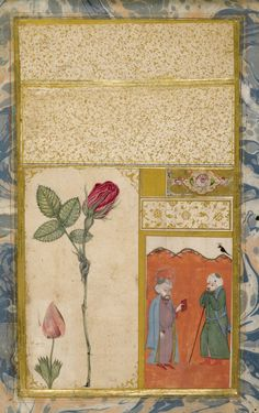 An Illustrated and Illuminated Ottoman Double-Sided Album Page: A Rose and Nightingale, Signed by 'Abdullah Bukhari, Turkey, 18th century