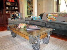 Beautiful Antique Factory Cart Coffee Table Wheels   Http://futurehomeidea.com/antique