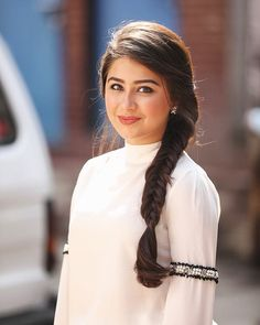 Image may contain: 1 person, closeup and outdoor Saree Hairstyles, Cute Hairstyles, Braided Hairstyles, Fancy Braids, Braids For Long Hair, Front Hair Styles, Medium Hair Styles, Aditi Bhatia, Indian Wedding Hairstyles