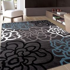 Decorate your home with this stylish contemporary area rug. The blue rug features an attractive floral design that adds function and fashion to any décor.