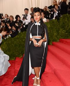 Janelle Monáe - Met Gala 2015...Cute, Imagine this in bridal fabric with embellishments that fits your style. Take these details & adjust to fit your style. Be open for suggestions, from your dressmaker, on embellishments for the ultimate bridal look.