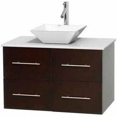 Wyndham Collection Centra 36 inch Single Bathroom Vanity in Espresso, White Man-Made Stone Countertop, Pyra White Porcelain Sink, and No Mirror