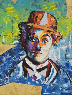 "CHARLOT «Gold» Instinctive Realism History 36"" x 48"" by Kathleen Artist Pro http://www.kathleenartistpro.com  For availability please contact: kathleen.artist@hotmail.com #charliechaplin #charlot #illustration #art #drawing #portrait #painting #paintingart #fashion #modernart #acrylic #abstrait #hollywood #oldhollywood"