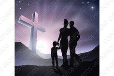 Easter Christian Cross Family. Illustrations