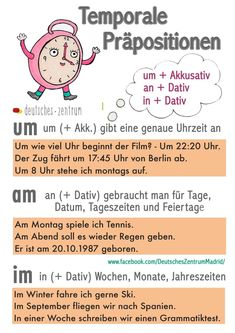 Temporole Prepositionen Um An In Study German, German English, German Grammar, German Words, Learning Languages Tips, Foreign Languages, Dativ Deutsch, Deutsch Language, Germany Language