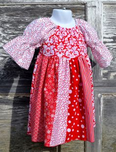 Red White Christmas Holiday Dress Stripwork by PigtailsNPetticoats, $45.00. Ready to ship in sizes 4, 5, 6, 8