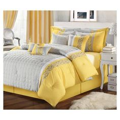 Glendale Yellow & Gray Queen 8 Piece Comforter Bed In A Bag Set