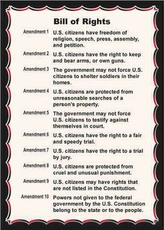 This is a shorter and much simpler version of the bill of rights. The bill gives the good people of America their individual freedoms. The Bill of rights is apart of the US constitution. Us History, History Facts, American History, History Timeline, American Literature, American Presidents, American Pride, Ancient History, Black History