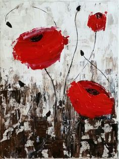 Pallete knife poppies, A Painting with Jane lesson