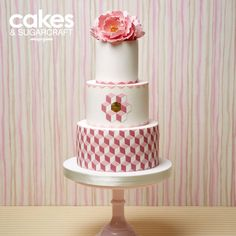 Geometric pink and white wedding cake tutorial by JellyCake for the Summer 2015 issue of Cakes & Sugarcraft magazine