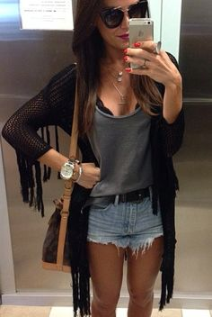 Look Short Jeans, Look Con Short, Short Outfits, Summer Outfits, Cute Outfits, Look Boho, Look Chic, Boho Fashion, Girl Fashion