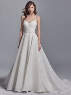 Elegant Sweetheart Organza Sleeveless A-line Wedding Dress by Maggie Sottero - Image 1