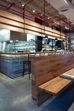 I love the industrial look Levy:Chamizer Architects studio realized for Giraffe Restaurant from Tel Aviv, Israel. Restaurant Interior Design, Interior Design Studio, French Restaurants, Douglas Fir, Restaurant Bar, Wall Design, Giraffe, Concrete, Industrial