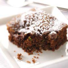 Zucchini Chip Chocolate Cake Recipe -This moist, chocolatey cake makes good use of summer's bounty of zucchini. Serve it alone or with fresh berries. —Weda Mosellie, Phillipsburg, New Jersey Zucchini Desserts, Zucchini Cake, Zuchinni Bread, Zucchini Chips, Fruit Recipes, Cake Recipes, Dessert Recipes, Chocolates, Zucchini Puffer