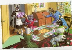 Mainzer Dressed Cats -Tea time accident Mainzer dressed cats, Postcard no…