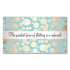 Light Turquoise Blue and Gold Beauty Referral Card Business Cards. Make your own business card with this great design. All you need is to add your info to this template. Click the image to try it out!
