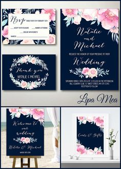 Wedding invitation template 71 free printable word pdf psd floral wedding invitation navy pink boho wedding invitation printable wedding invitation set peony spring wedding invitation summer wedding stopboris