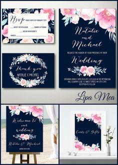 Floral Wedding Invitation Boho Wedding Invitation by lipamea