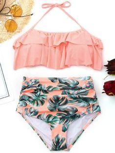 Trendy Ruffled Palm Leaf High Waisted Bikini Type of swimwear: Type of swimwear: Type of bikini: swimwear Swimsuits For Teens, Cute Swimsuits, Women Swimsuits, Two Piece Swimsuits, Pink Bikini, Bikini Swimwear, Sexy Bikini, Bikini Beach, Bikini Girls