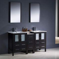 "Fresca Torino 60"" Espresso Modern Double Sink Bathroom Vanity w/ Side Cabinet & Integrated Sinks"