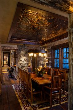 Dining room light fixture - Traditional Home Log Cabin Design, Pictures, Remodel, Decor and Ideas - page 8