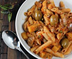 Pasta with eggplant and olives