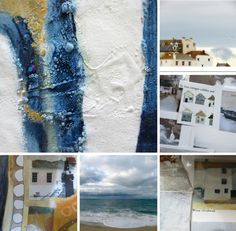a collection of  St. Ives inspired textiles paintings collages and photography - Carolyn Saxby