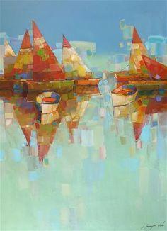 "Daily Paintworks - ""sail Boats -Harbor, Handmade artwork, Oil on Canvas"" - Original Fine Art for Sale - © V Y"