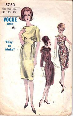 Vogue 5753 60s Sheath Dress Pattern Shaped Midriff Wiggle Dress Size 14 Bust 34 inches