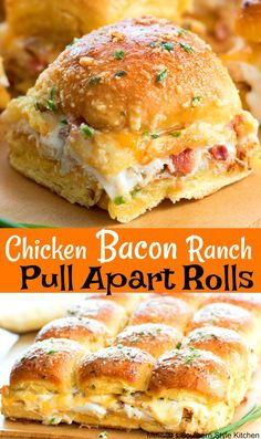 Love how easy these Chicken Bacon Ranch Pull Apart Rolls are to make Perfect for feeding a crowd! Chicken Bacon Ranch Pull A. Think Food, Love Food, Slider Recipes, Football Food, Football Party Foods, Football Birthday, Appetizer Recipes, Finger Food Recipes, Bacon Recipes For Dinner