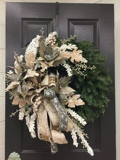 Wow your family and friends with this Rustic Elegant Christmas Wreath. The beautiful metallics in this wreath will shimmer and dance in the sun light or from the Christmas lights. Elegant Christmas, Gold Christmas, Beautiful Christmas, Christmas Crafts, Christmas Lights, Christmas Room, Santa Christmas, Outdoor Christmas, Christmas Movies
