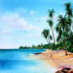 How to Paint Tropical Beaches #stepbystep