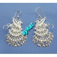 silver filigree peacock earrings